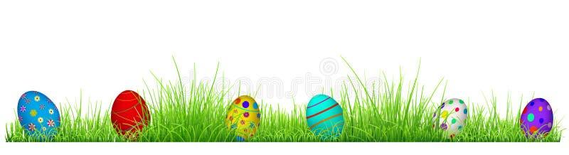 Grönt gräs med påskägg stock illustrationer
