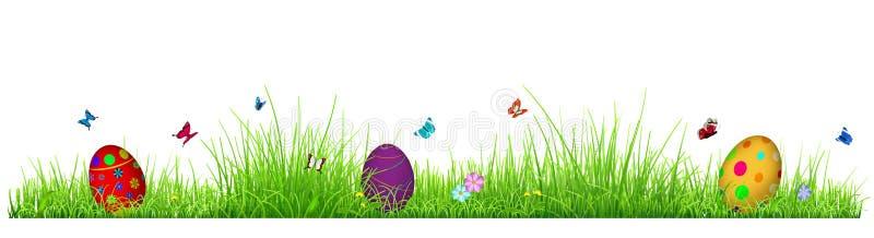 Grönt gräs med påskägg royaltyfri illustrationer