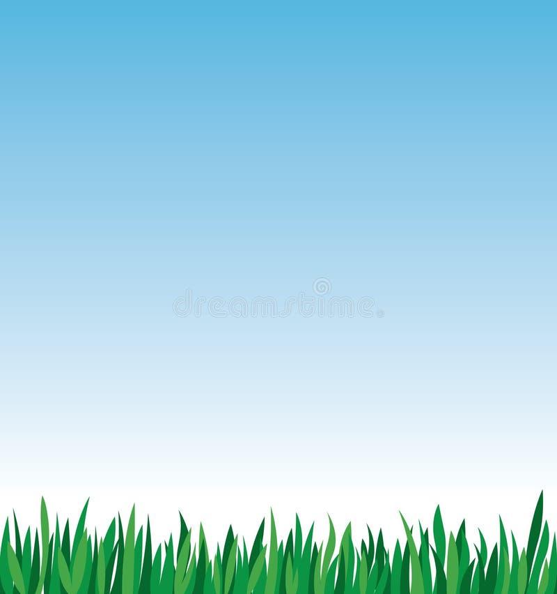 Grönt gräs på en bakgrund av vektorillustrationen för blå himmel royaltyfri bild