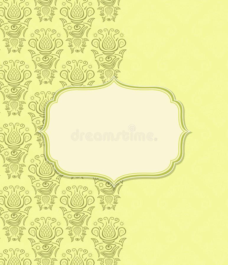 Grönt gult inbjudankort med karaktärsteckningetiketten stock illustrationer