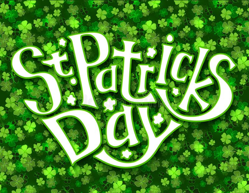 Grönt hälsningkort för dagen för St Patricks, bokstäverhandattraktion royaltyfri illustrationer