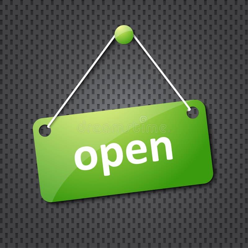 grönt hängande öppet tecken arkivfoto