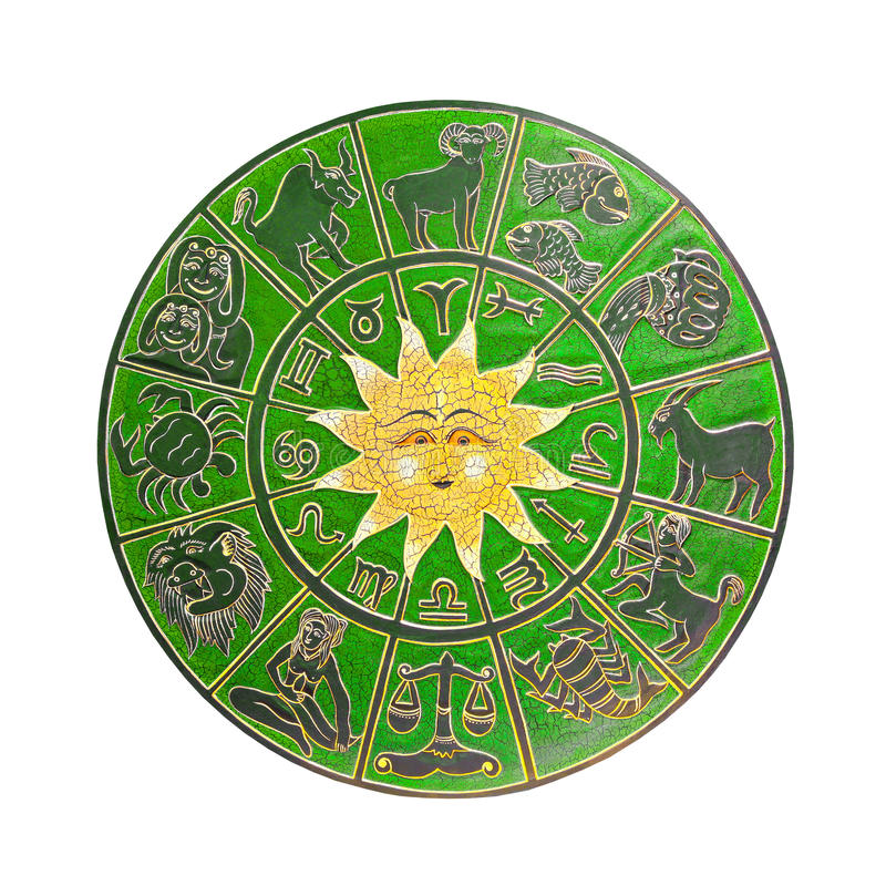 Grönt horoskophjul arkivfoton