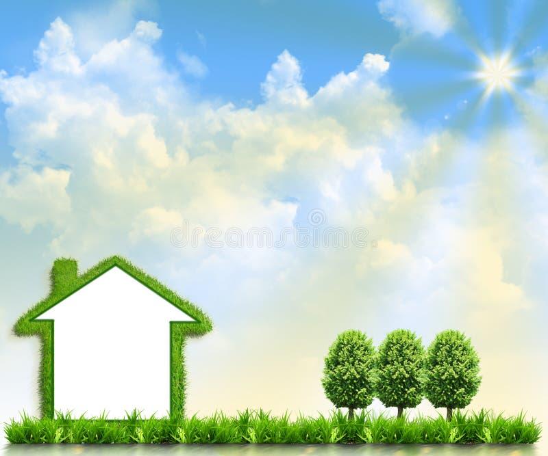 grönt hus för fält royaltyfria bilder