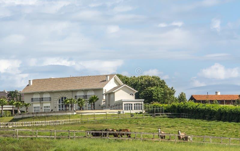 grönt hus för lantgård fotografering för bildbyråer