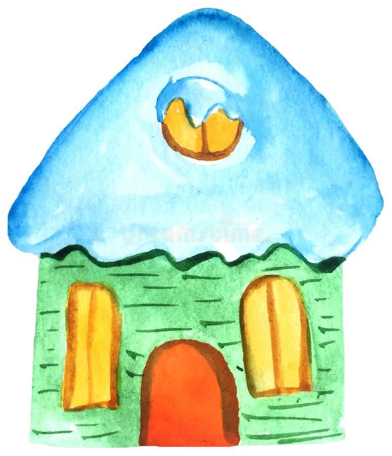 Grönt hus för vintertecknad film vattenfärgillustration av handen som drar på en vit bakgrund för designen vektor illustrationer