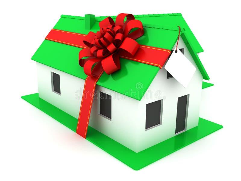 grönt hus little Herrgård med bandet och pilbågen vektor illustrationer