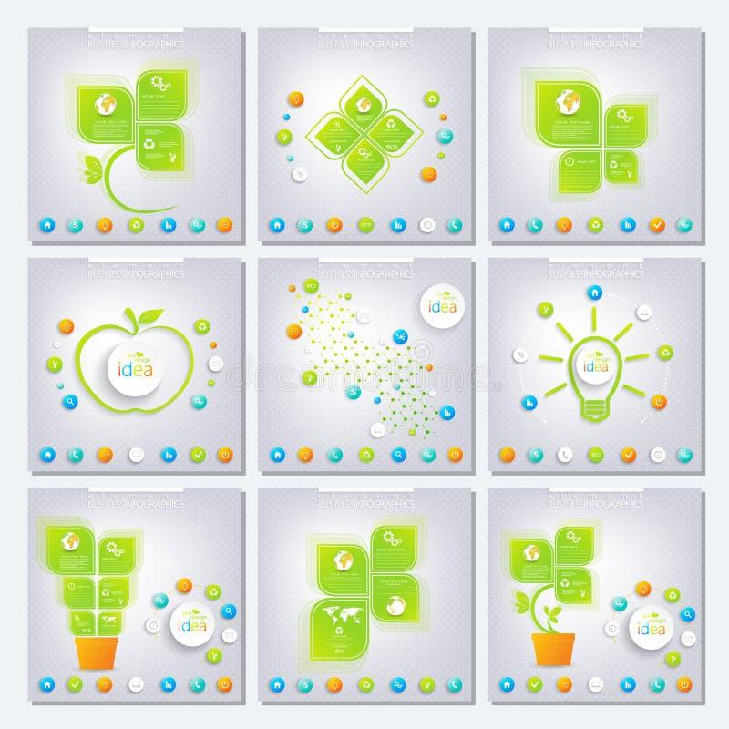 Grönt infographic för samling kan användas för royaltyfri illustrationer