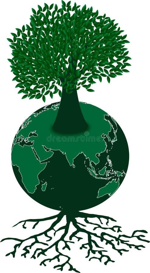 Grönt jordklot och träd stock illustrationer