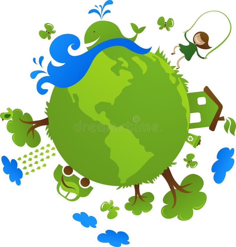 Grönt jordklotecobegrepp royaltyfri illustrationer