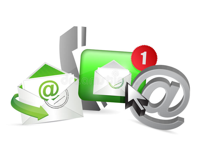 grönt kontakta oss symbolsdiagrambegreppet stock illustrationer
