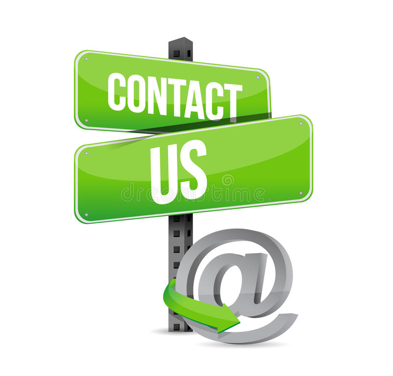 grönt kontakta oss tecknet och online- på symbolet vektor illustrationer