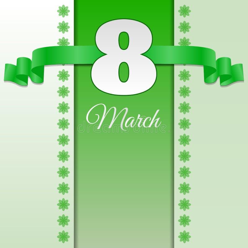 Grönt kort eps 10 för kvinnadag8 marsch vektor illustrationer