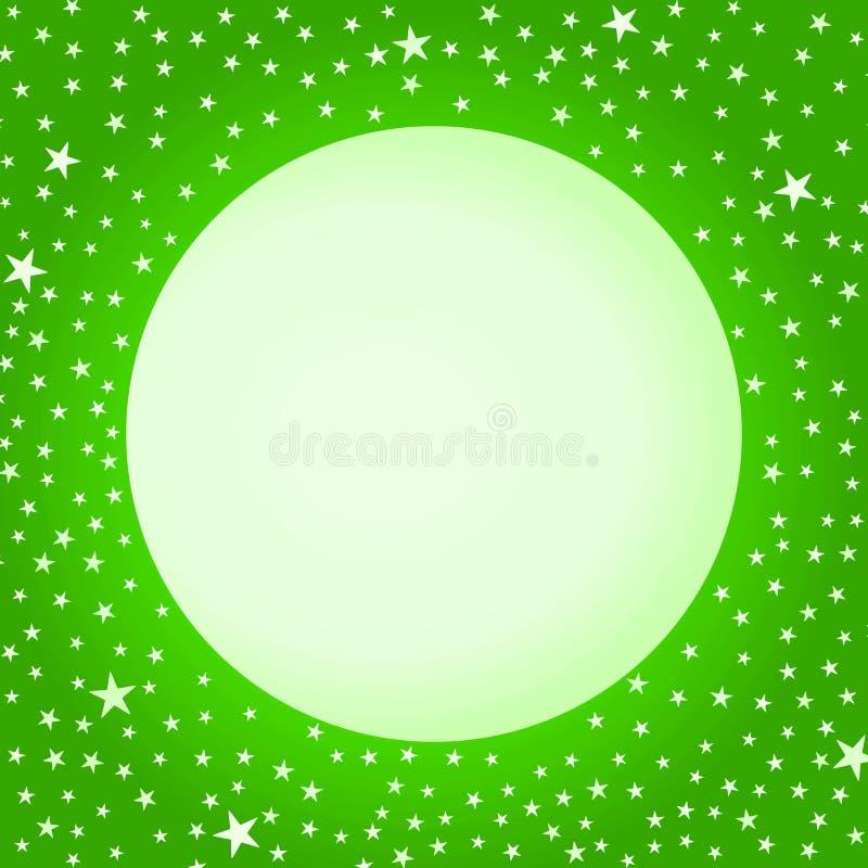 Grönt kort för hälsning för månejulstjärnor royaltyfri illustrationer
