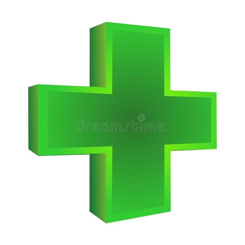 grönt läkarundersökningkors stock illustrationer