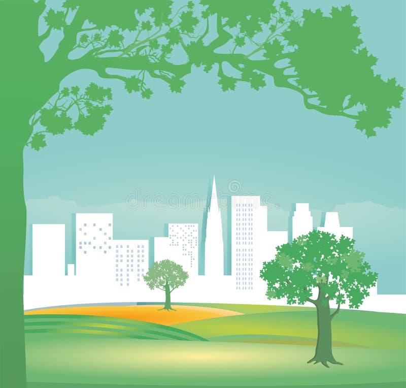 Grönt landskap royaltyfri illustrationer