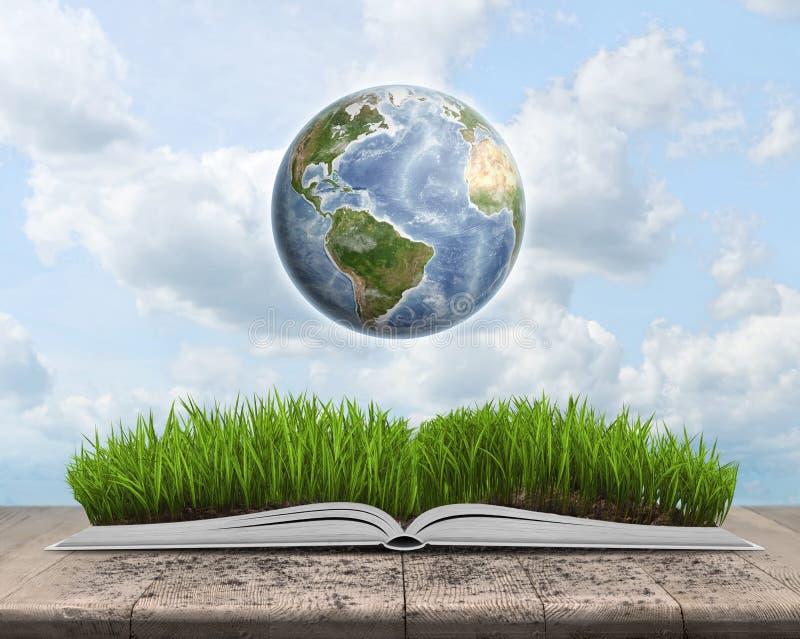 Grönt landskap som täckas av gräs på en öppen bok med jordklotet royaltyfri illustrationer