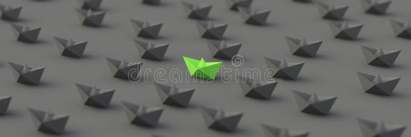 Grönt ledarefartyg royaltyfri illustrationer