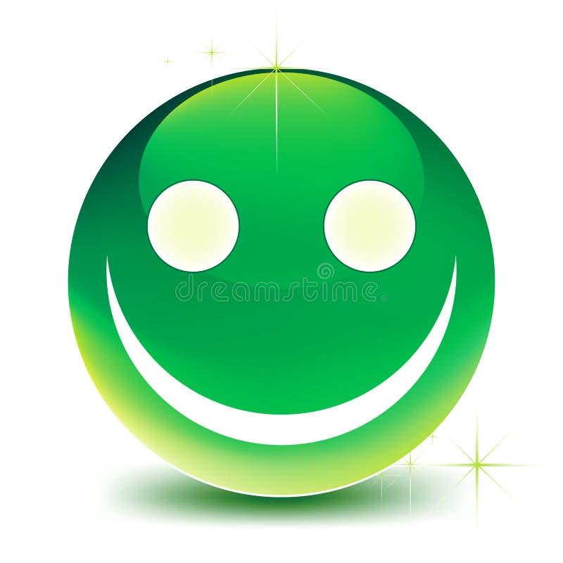 Grönt leende stock illustrationer