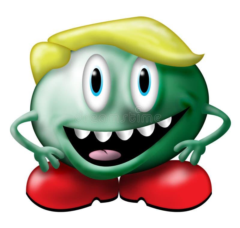 grönt litet monster stock illustrationer