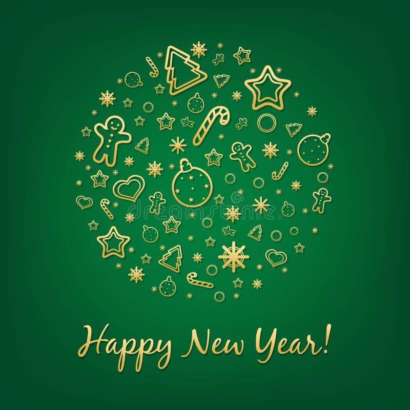 Grönt lyckligt kort för nytt år stock illustrationer