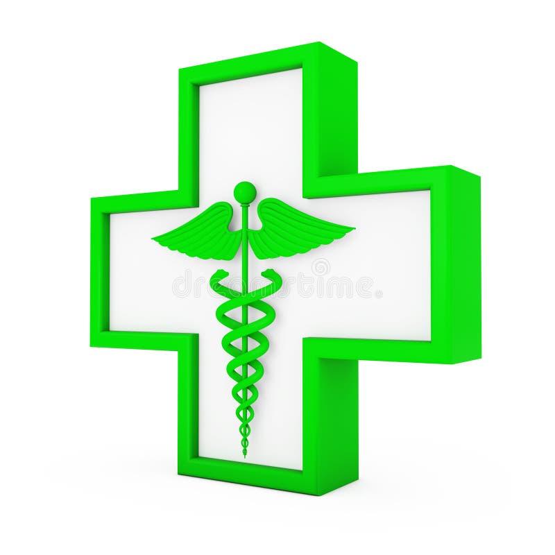 Grönt medicinskt Caduceussymbol i kors framförande 3d royaltyfri illustrationer