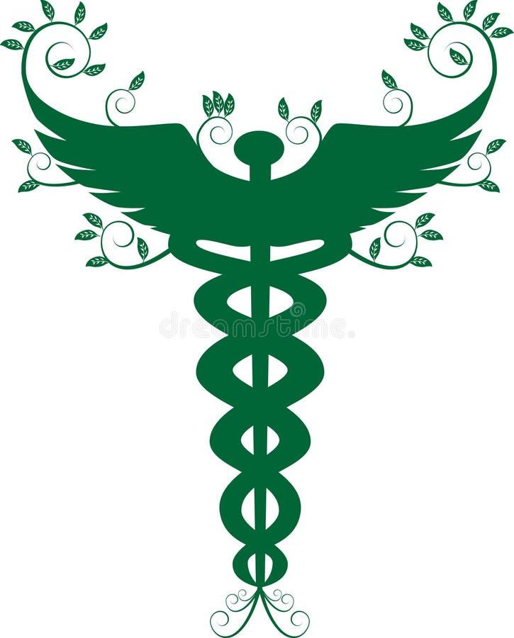 grönt medicinskt symbol för caduceus vektor illustrationer