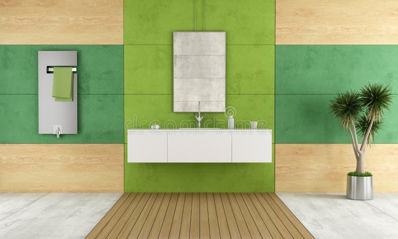 Grönt modernt badrum vektor illustrationer