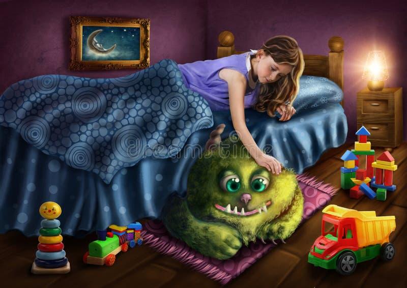 Grönt monster under sängen royaltyfri illustrationer