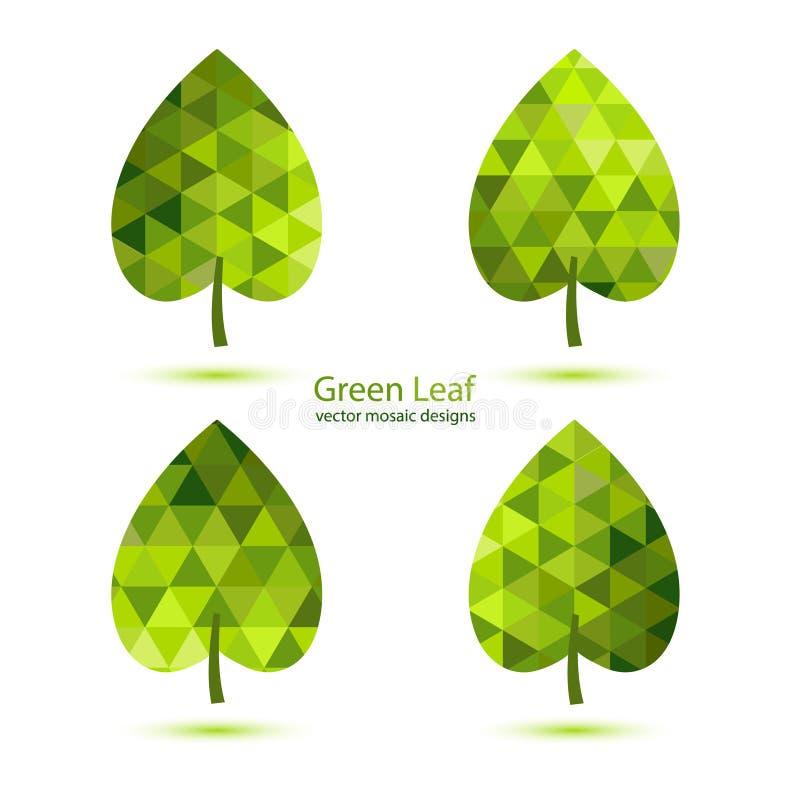Grönt mosaikvektorblad stock illustrationer