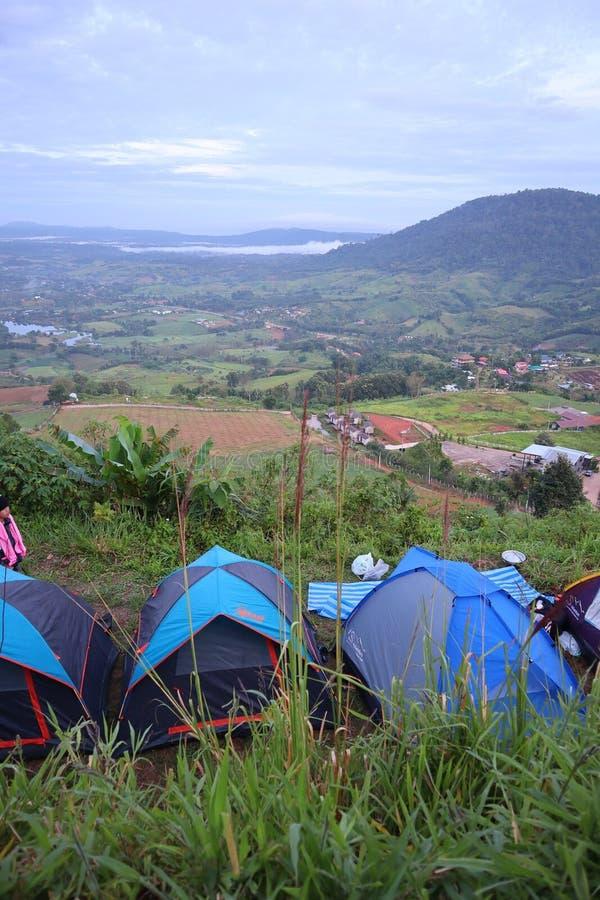 Grönt Mountain View och för tält campa fotografering för bildbyråer