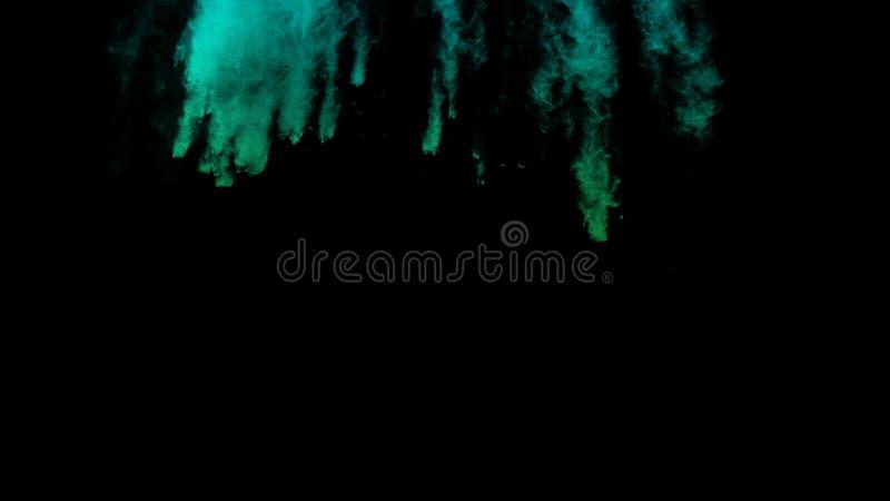 Grönt och blått lutningfärgpulverabstrakt begrepp för rörelse med svart pulver för design för bakgrundsdammexplosion stock illustrationer