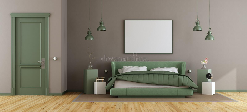 Grönt och brunt ledar- sovrum royaltyfri illustrationer