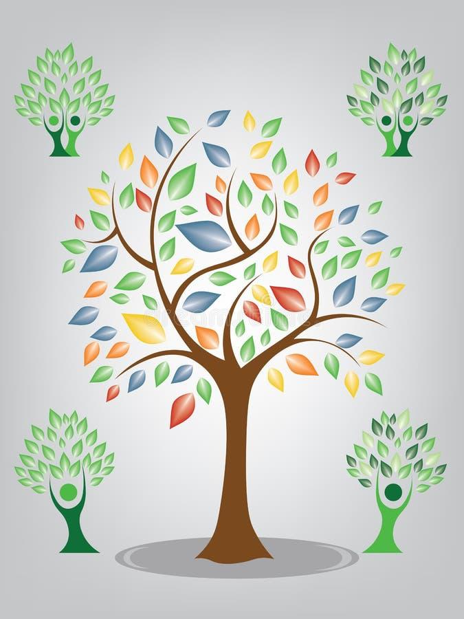 Grönt och färgrikt träd för vektor på vit bakgrund royaltyfri fotografi