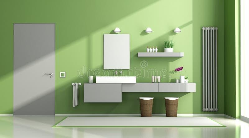Grönt och grått badrum vektor illustrationer