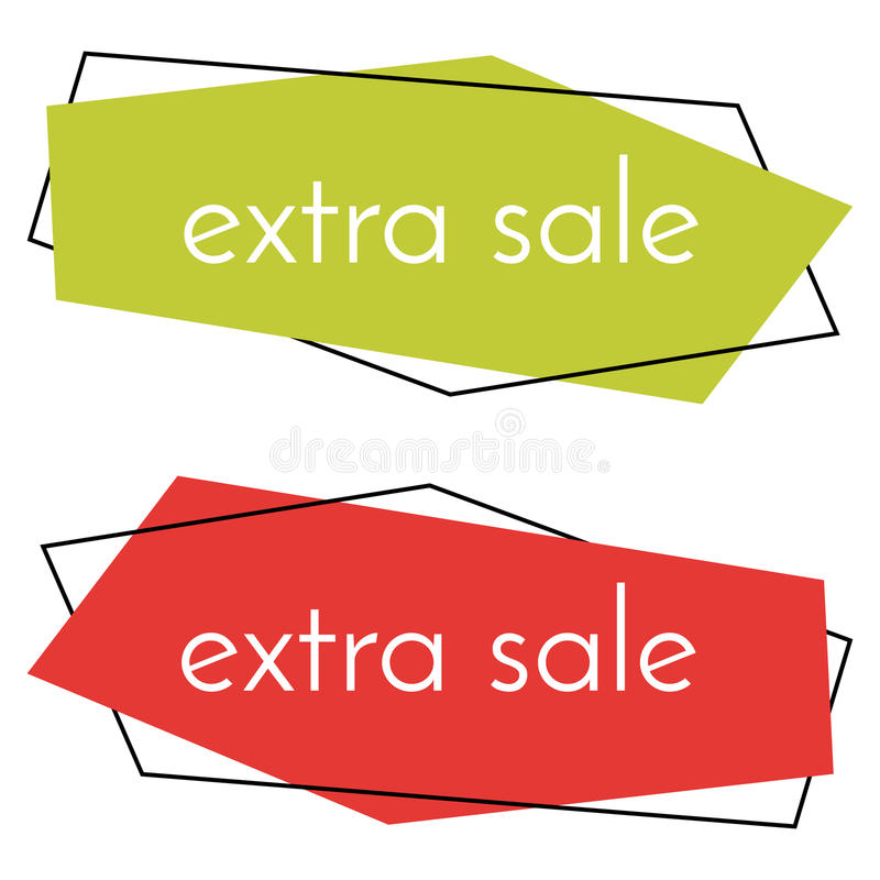 Grönt och rött baner för extra försäljning på vit bakgrund vektor illustrationer