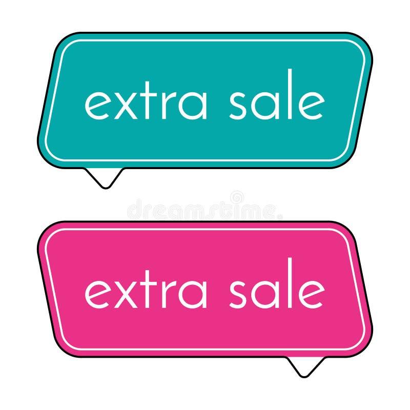 Grönt och rosa baner för extra försäljning på vit bakgrund Vektorbakgrund med färgrika designbeståndsdelar royaltyfri illustrationer