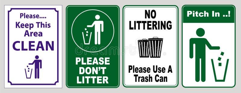 Grönt och vitt tecken att välja upp avfall stock illustrationer