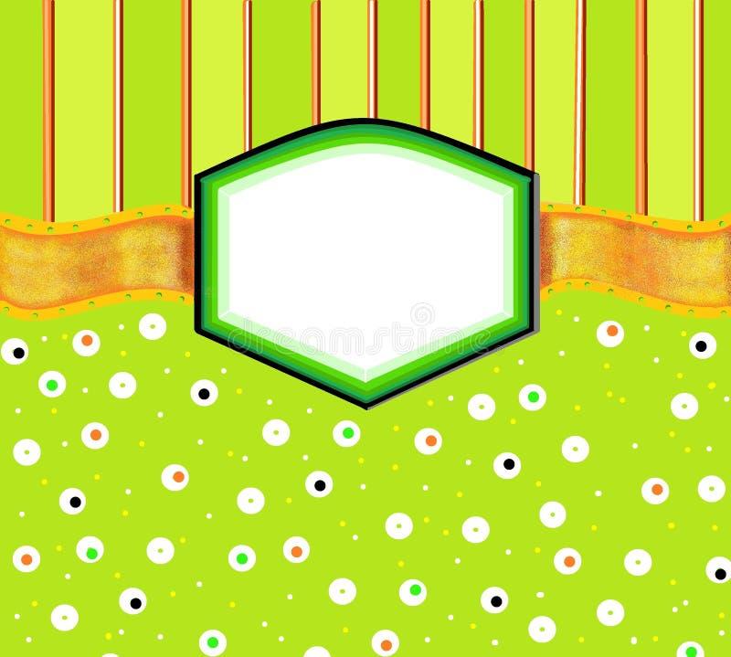 Grönt orange inbjudankort för illustration arkivbild