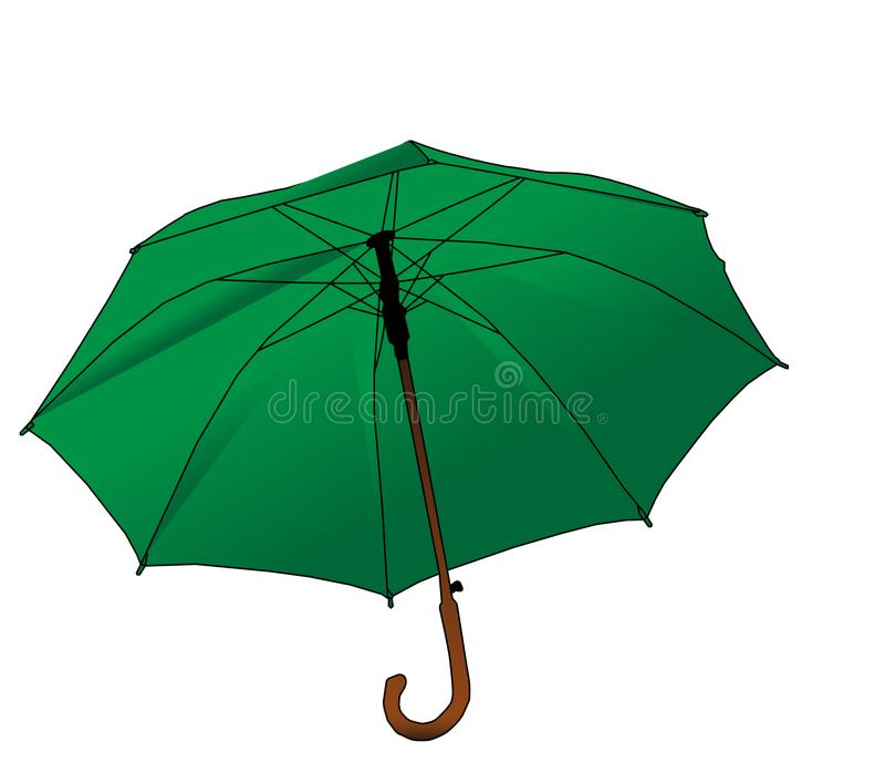 Grönt paraply - rotting på vit bakgrund, vektor eps 10 stock illustrationer