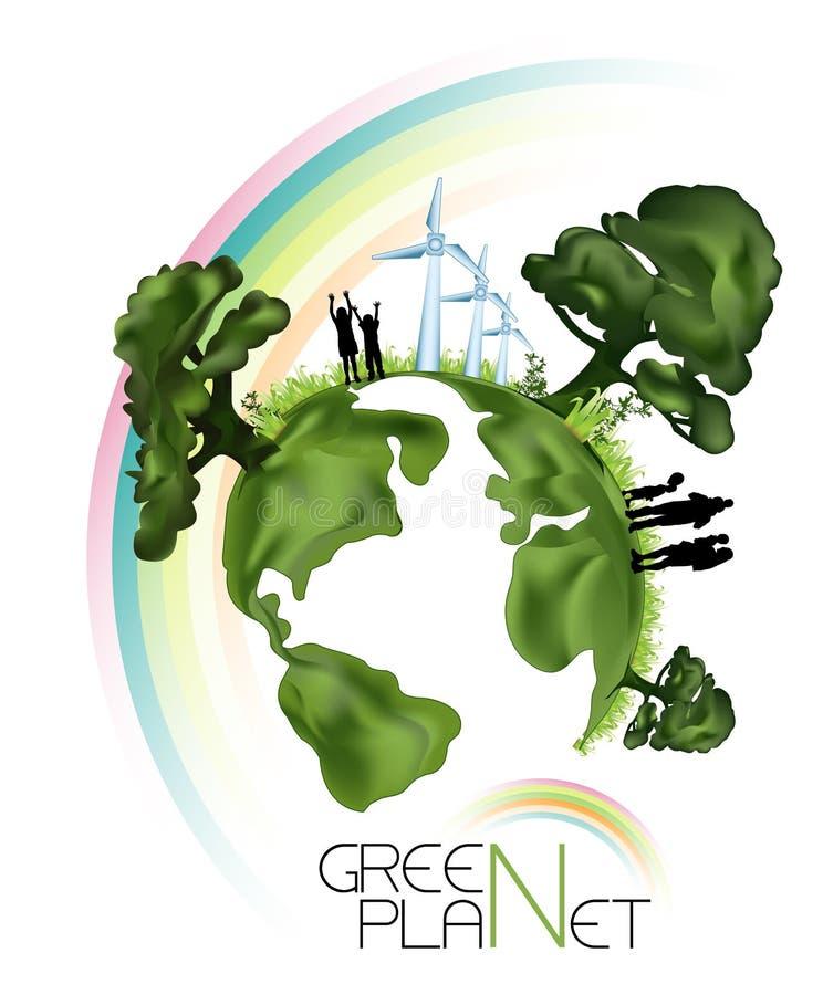 grönt planet för ekologi vektor illustrationer