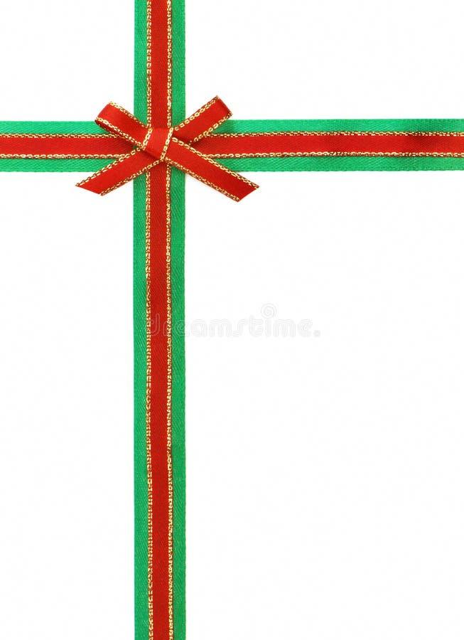 grönt rött band för bow arkivbilder