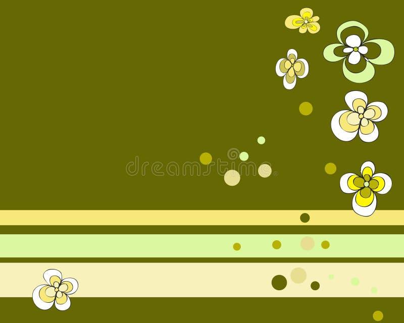 grönt retro för blommor vektor illustrationer