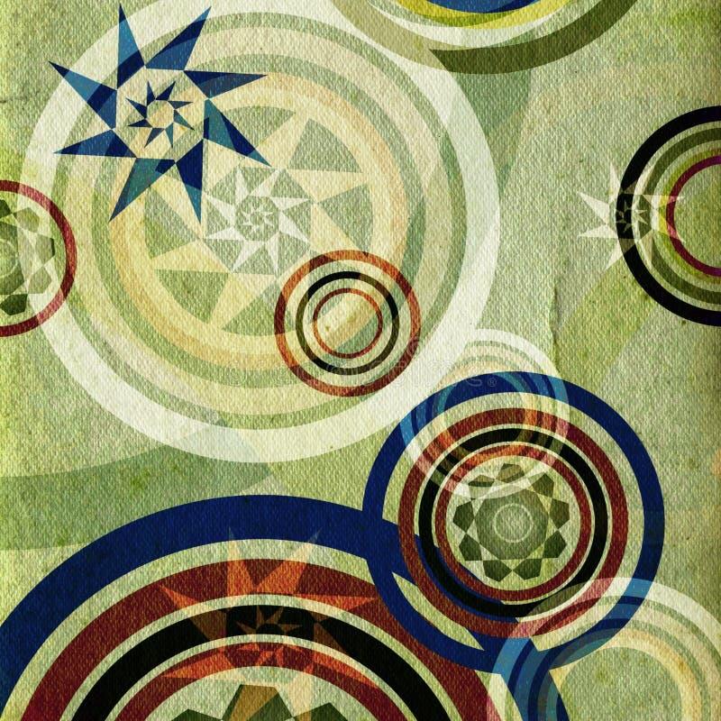 grönt retro för cirklar stock illustrationer
