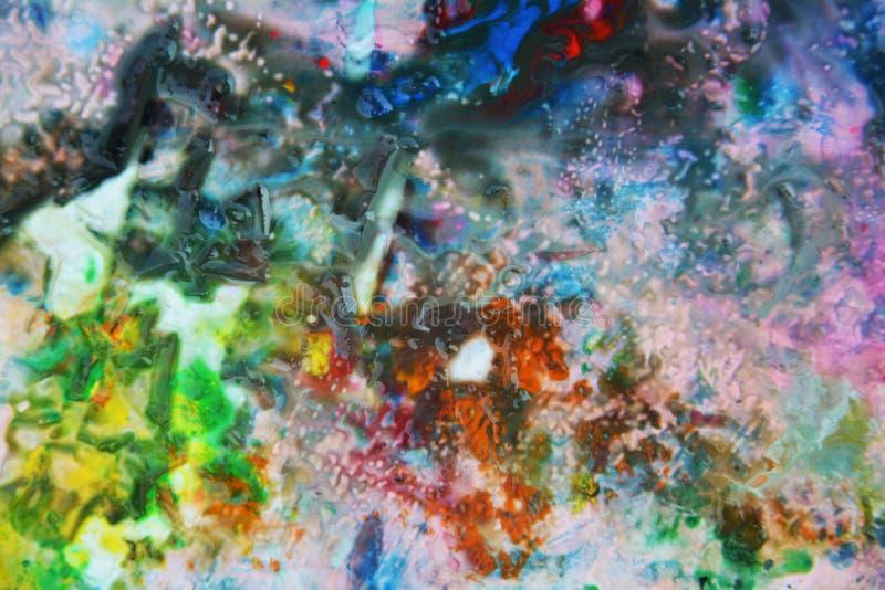 Grönt rosa mörker för apelsin - blåa målarfärgfärger och toner Abstrakta unika blöter målarfärgbakgrund Målningfläckar arkivbilder