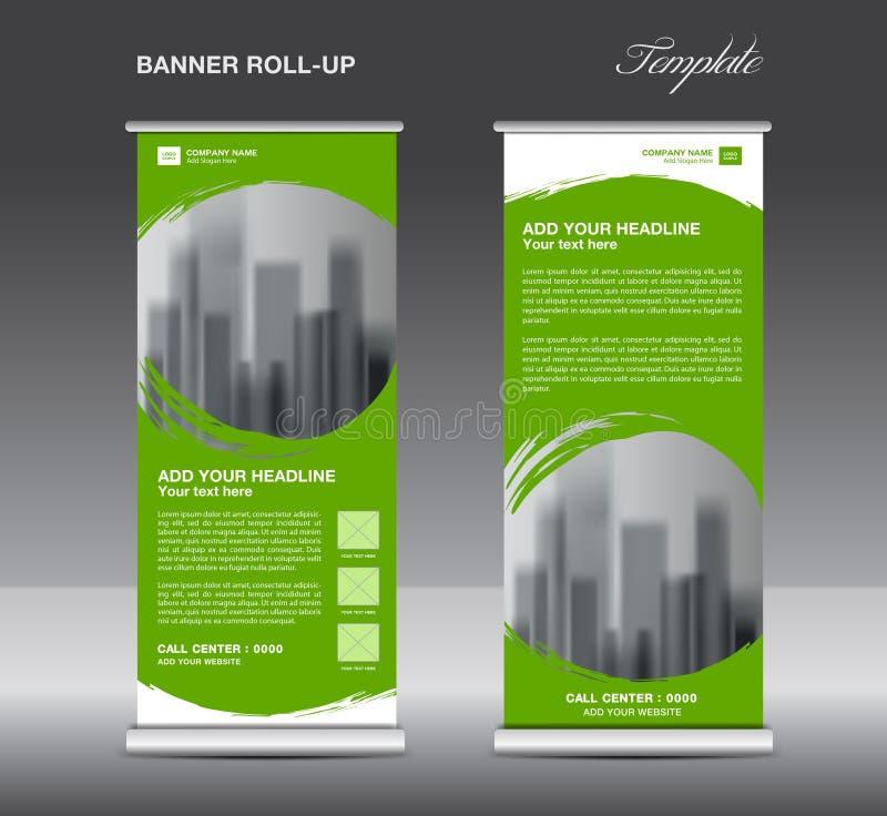 Grönt rulla upp banermallvektorn, reklambladet, annonsering royaltyfri illustrationer