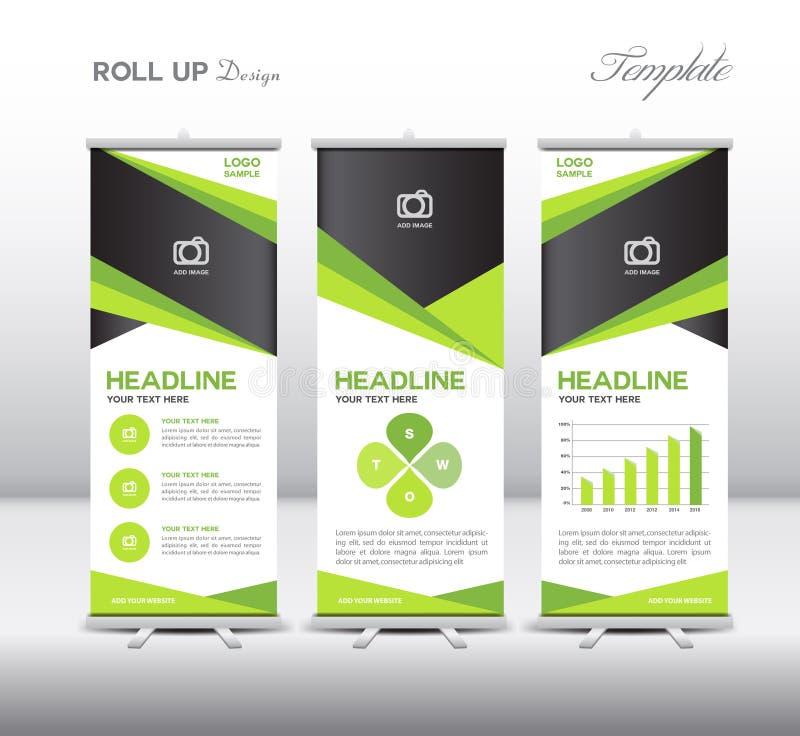 Grönt rulla upp mall- och informationsdiagram om baner, ställningsdesignen, ve stock illustrationer