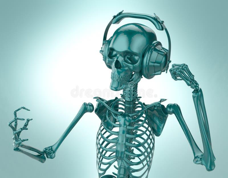 Grönt skinande plast- skelett i stort posera för hörlurar som isoleras på ljus bakgrund framförande av partiaffischmallen vektor illustrationer