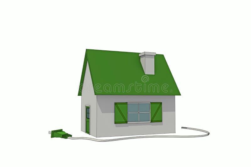 Grönt skissat energihus vektor illustrationer
