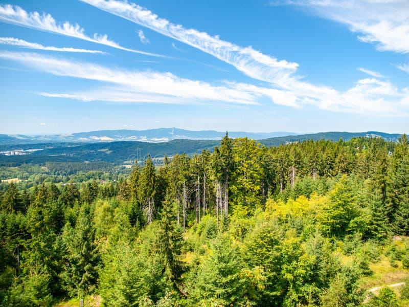 Grönt skoglandskap av Jizera berg med Liberec och Jested Mounain på bakgrunden, Tjeckien royaltyfria foton